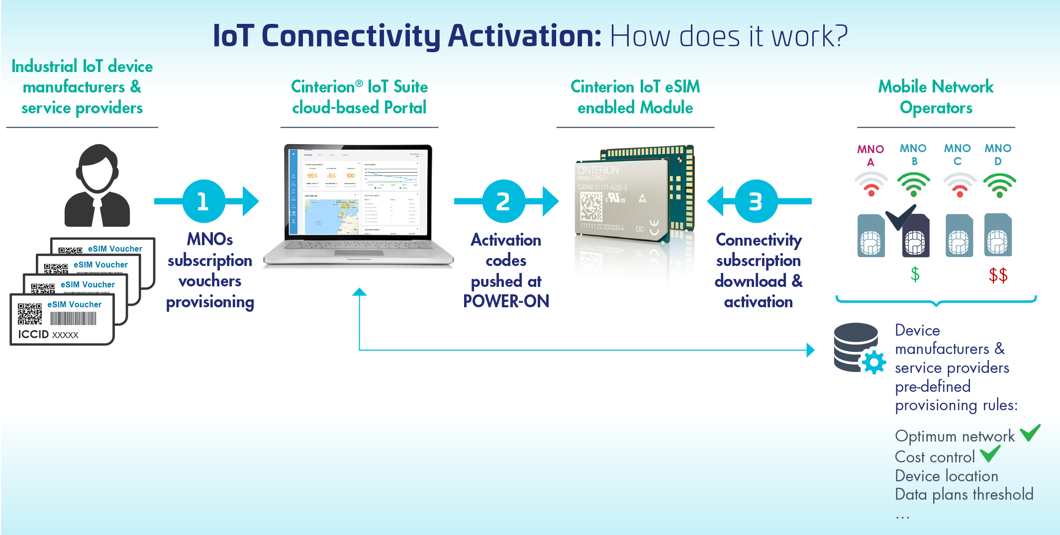 How elements of the Cinterion Connectivity Activation offer work.