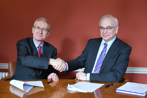 Professor Hugh Brady (left) with Dr Alvin Wilby - Thalesgroup