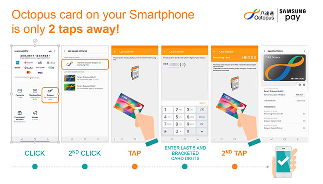 Digitization of the existing Octopus card on your Smartphone is only 2 taps away!